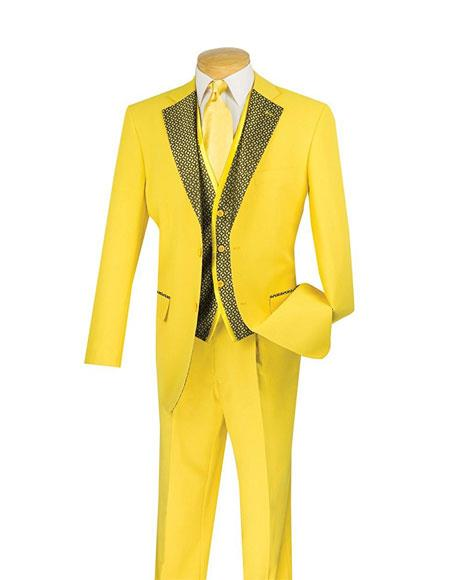 Mens 3Piece Gold Single Breasted 2Button Classic Fit Vest Fashion Suit