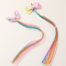 2pcs Girls Bow Decor Hair Clip