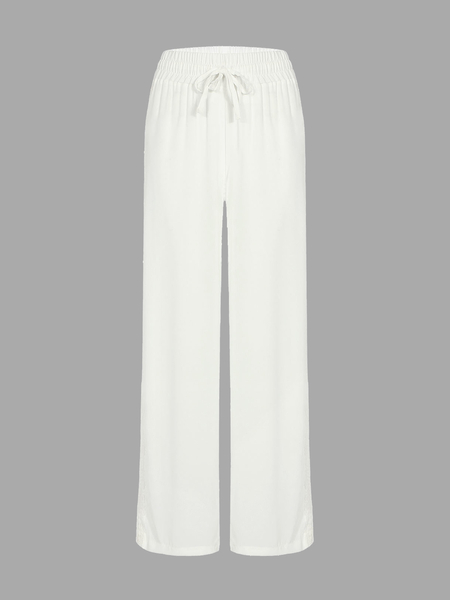 Yoins White Semi Sheer Wide Leg Crochet Trousers