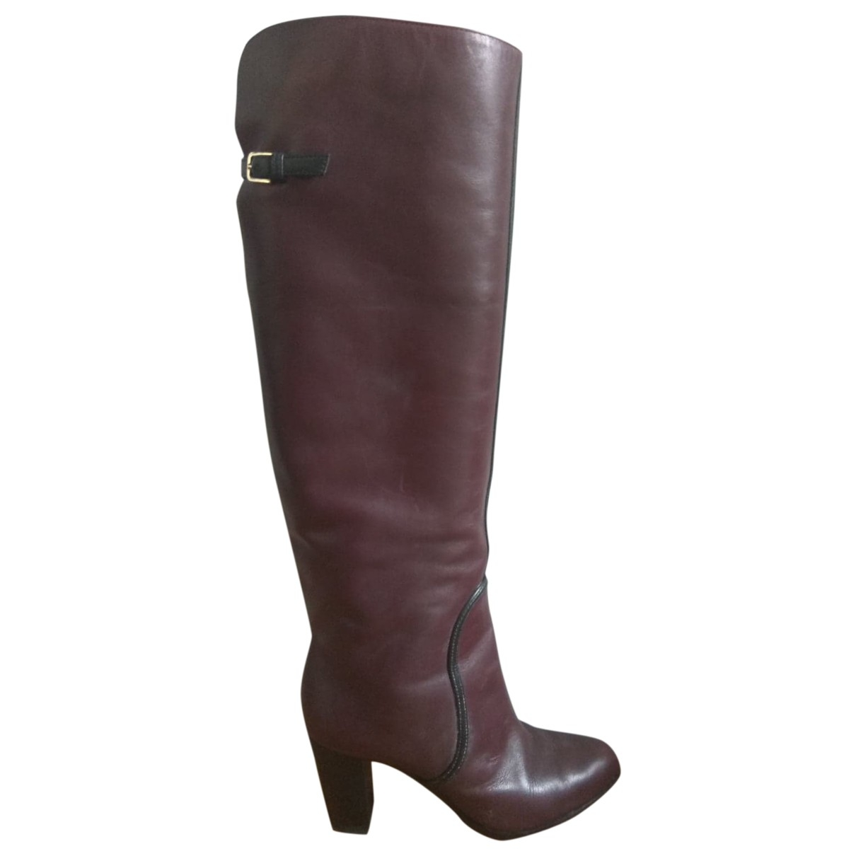 Sergio Rossi \N Burgundy Leather Boots for Women 36.5 EU