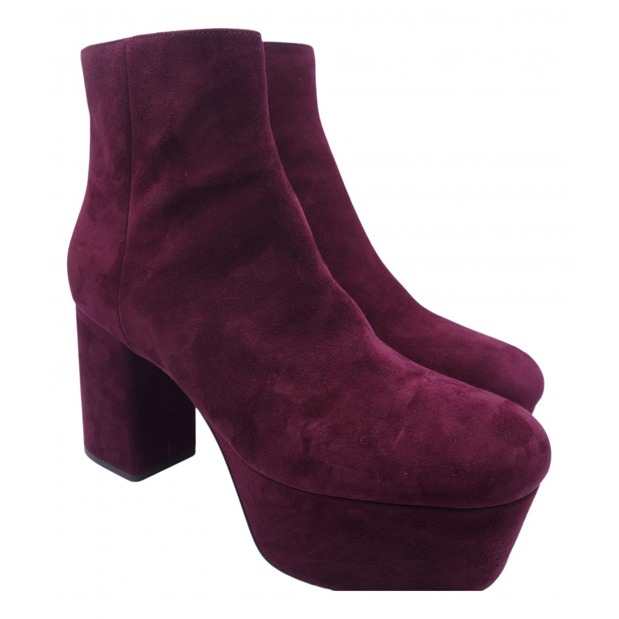 Prada N Burgundy Velvet Boots for Women 40.5 EU