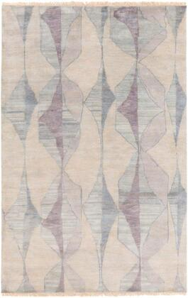 LBO1000-23 2' x 3' Rug  in Cream and Mauve and Teal and Moss and Light Gray and