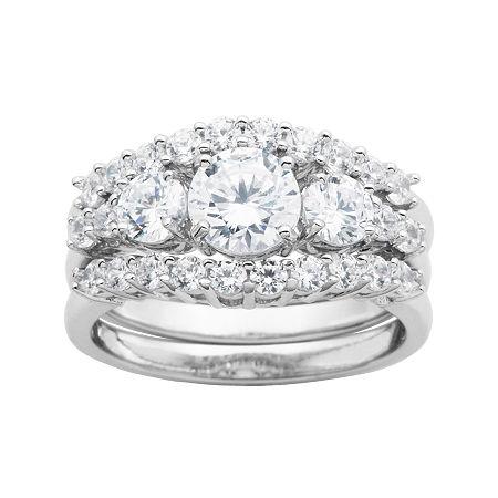 DiamonArt Cubic Zirconia Sterling Silver 3-Stone Bridal Ring Set, 8 , No Color Family