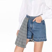Raw Hem Belted Tartan Panel Denim Shorts