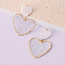 1pair Double Clear Heart Detail Earrings