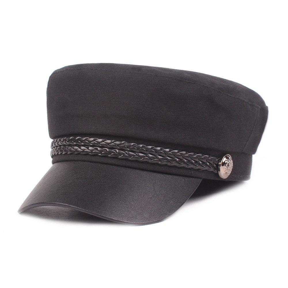 Women's Men's Leather Jacket Navy Cap Flat Cap Retro Military Cap