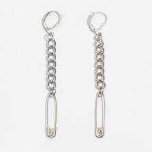 Safety Pin & Chain Drop Earrings