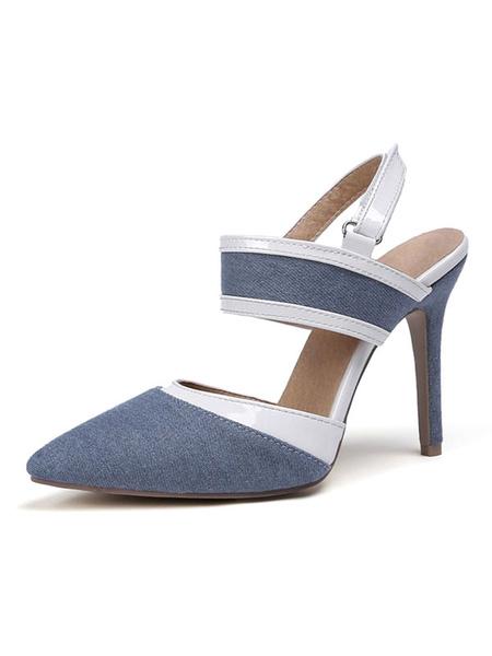 Milanoo Women High Heels Deep Blue Pointed Toe Slingbacks Pumps