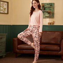 Hose mit Schmetterling Muster & T-Shirt Schlafanzug Set