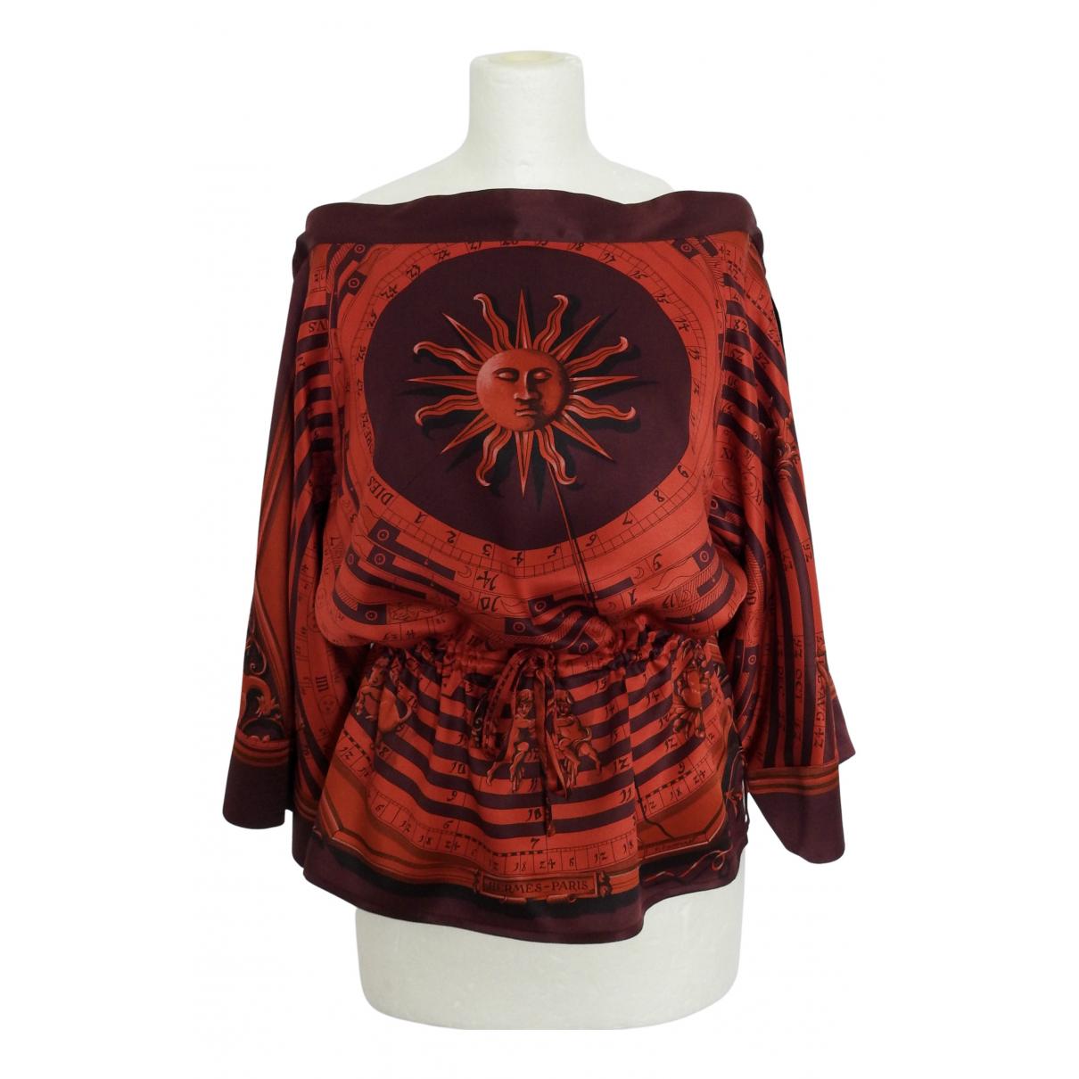 Hermes - Top   pour femme en soie - rouge