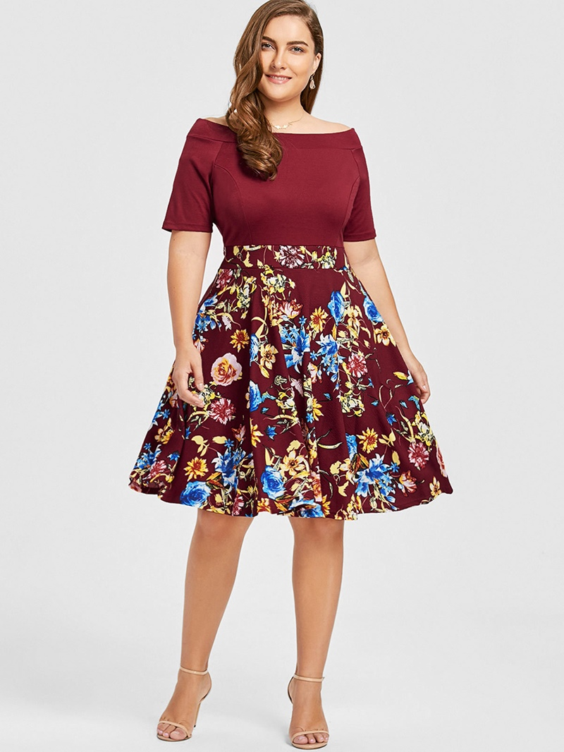Ericdress Plus Size Short Sleeve Off Shoulder Print Color Block Mid Waist Dress