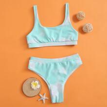 Maedchen Bikini Badeanzug mit Batik und hoher Taille