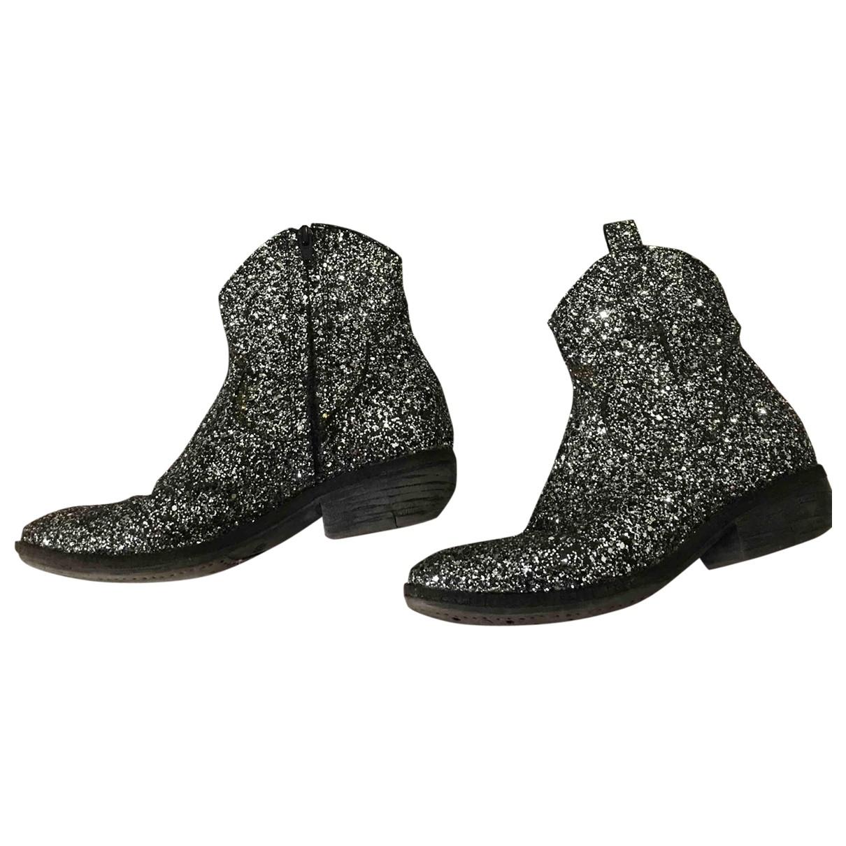 - Boots   pour femme en a paillettes - argente
