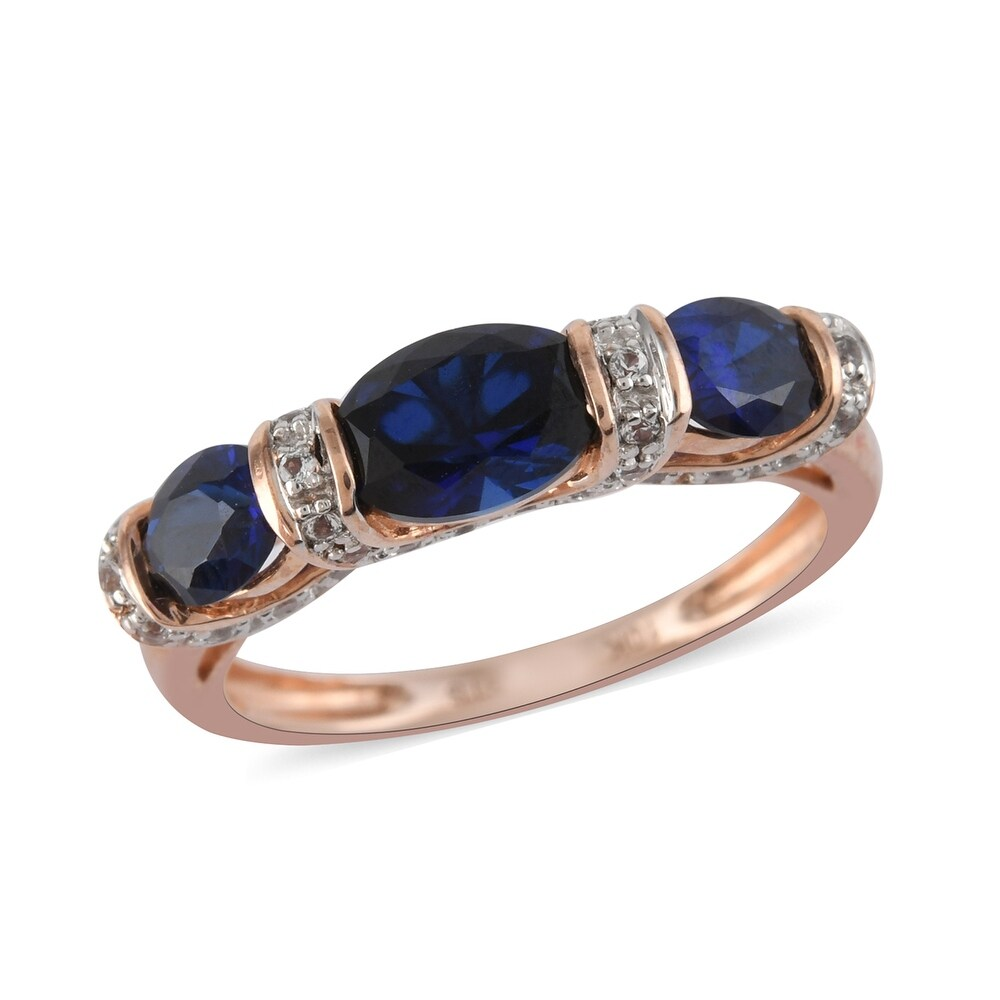 Rose Gold Rhodium Plated Blue Created Sapphire Ring Size 6.75 Ct 1.9 - Ring 6.75 (Blue - Blue - Sapphire - Ring 6.75)