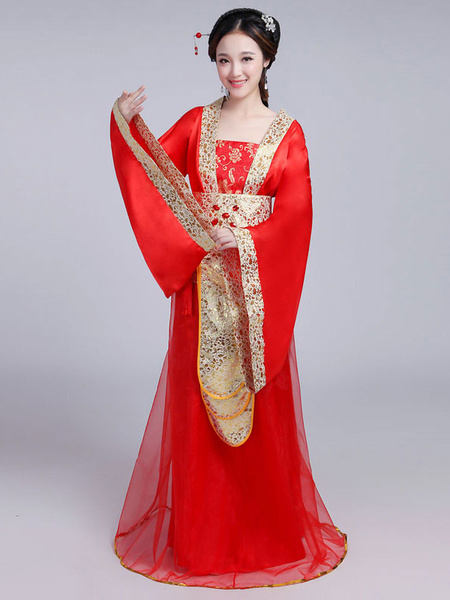 Milanoo Chinese Costume Traditional Female Red Satin Women Hanfu Dress Ancient Tang Dynasty Clothing 3 Pieces