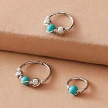 3 Stuecke Perlen Dekor Rose Ring