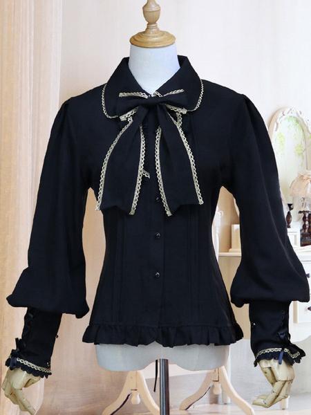 Milanoo Classic Lolita Shirt Bow Ruffle Lace Chiffon White Lolita Blouse