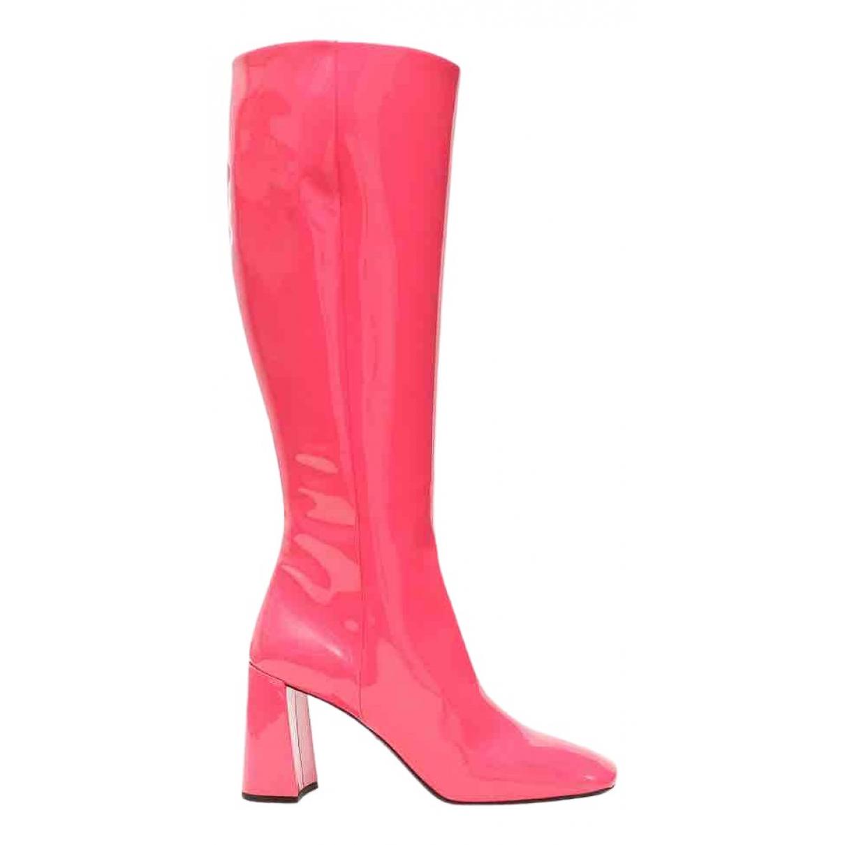 Prada - Bottes   pour femme en cuir verni - rose