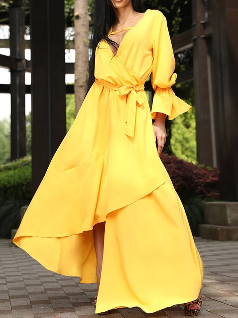 Ericdress V-Neck Long Sleeve Asymmetric Flare Sleeve Fashion Dress