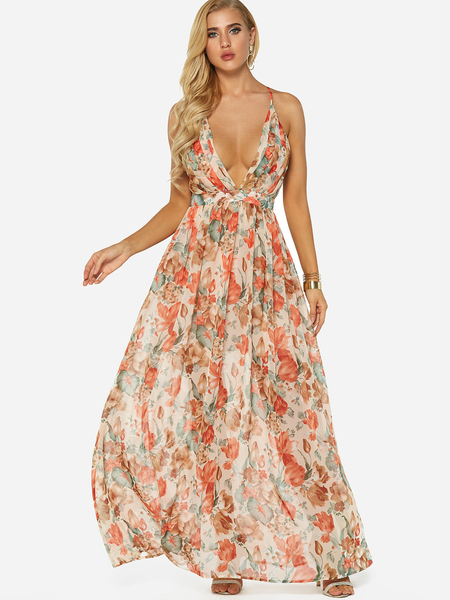 Yoins Random Floral Print Deep V-Neck Sleeveless Maxi Dress