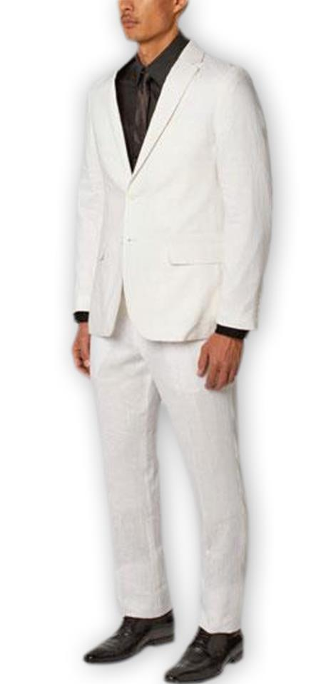Men's 2 Buttons Notch Lapel 100% Linen Double Vent 2 Piece White Suit