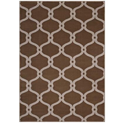 Beltara Collection R-1129A-58 Chain Link Transitional Trellis 5x8 Area Rug in Dark Tan and Beige