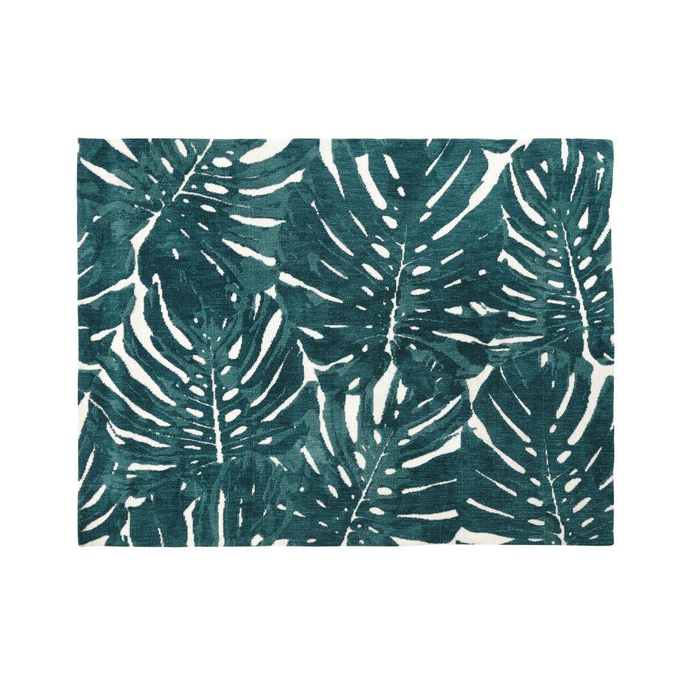 Getufteter Teppich in Ecru mit gruenen Blattmotiven 160x230