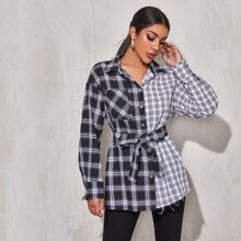 Collared Buttoned Front Self Belted Spliced Plaid Blouse