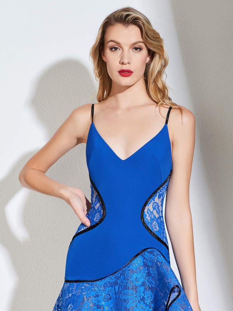 Ericdress A Line Spaghetti Straps Lace Mermaid Ccoktail Dress