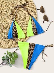 Colorblock Triangle Tie Side Bikini Swimsuit
