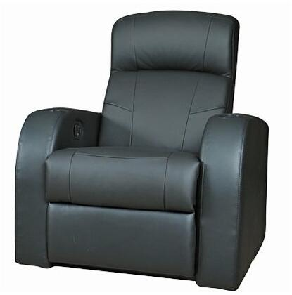600001 Cyrus Black Leather Recliner Chair by Coaster
