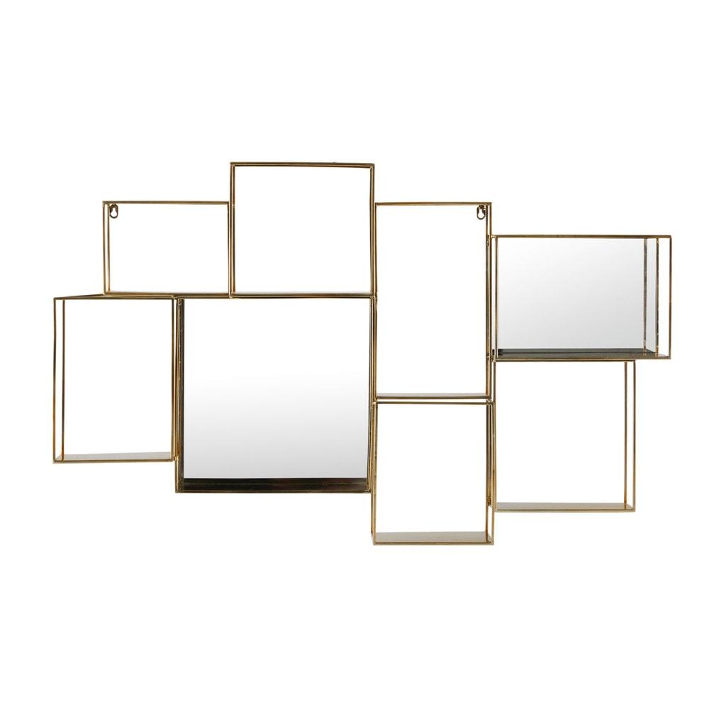Spiegelwandregal aus goldfarbenem Metall