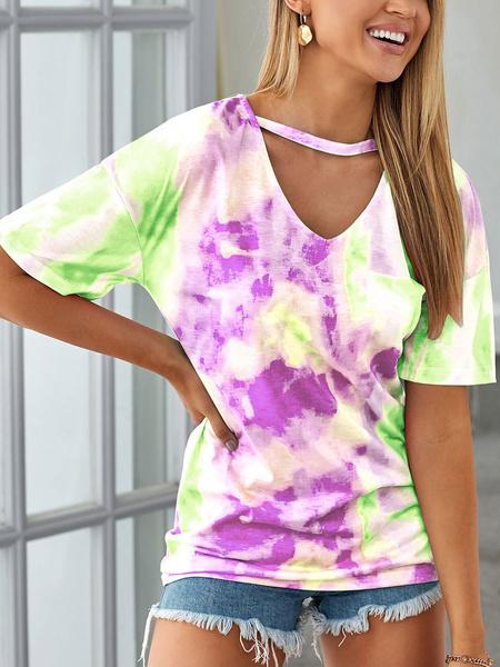 Milanoo Mujeres Camisetas Light Sky Blue Tie Dye V-Neck Polyester Casual T-Shirt