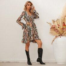 Snakeskin Print Ruffle Trim Surplice Front Dress