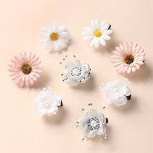 8 Stuecke Kleinkind Maedchen Haarklammer mit Blumen Dekor
