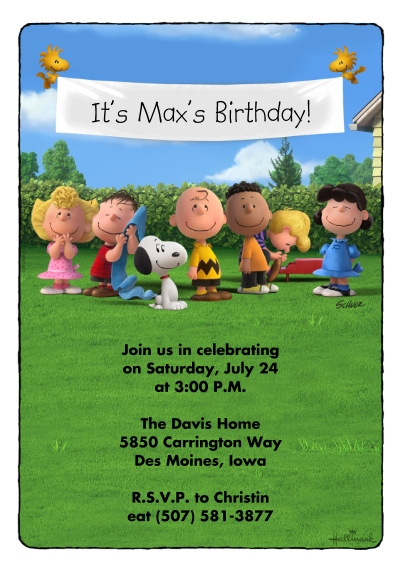 Kids Birthday Party Invites Flat Matte Photo Paper Cards with Envelopes, 5x7, Card & Stationery -Peanuts Birthday Banner