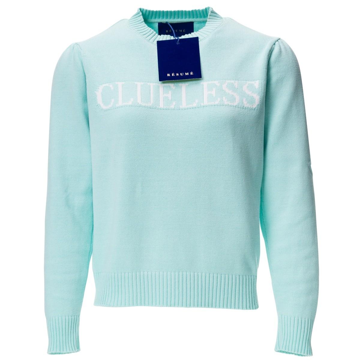 Resume - Pull   pour femme en coton - turquoise