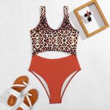 Leopard Cut-out One Piece Swimsuit