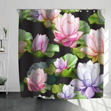 Lotus Print Shower Curtain With 12hooks