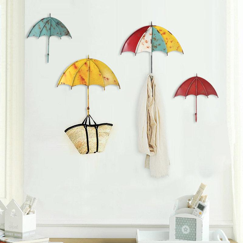 Umbrella Shaped Creative Wall Strong Hook Key Hair Pin Holder Colorful Organizer Bathroom