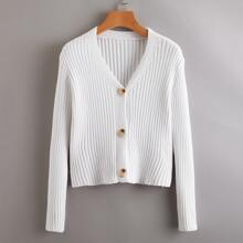 Ribbed Button Front Cardigan