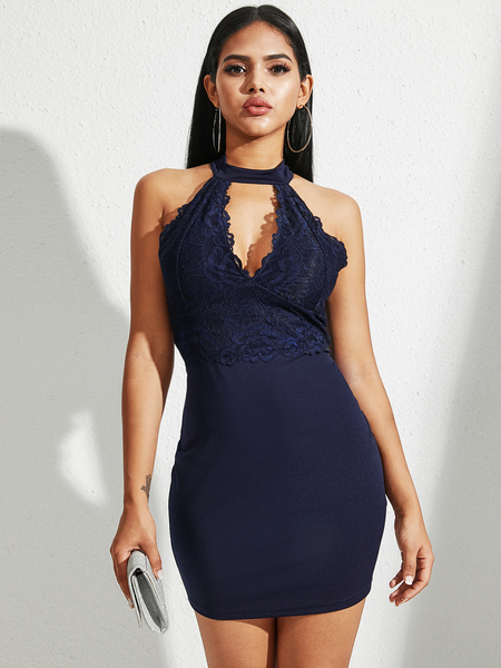 YOINS Navy Lace Cut Out Backless Design Halter Sleeveless Dress