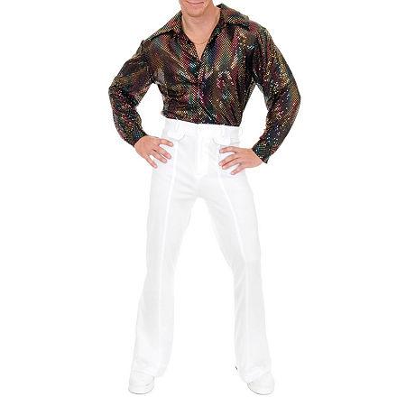 Mens Sequin Disco Shirt Costume, Small , Black