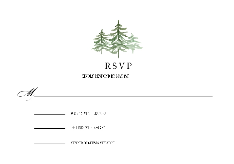 Matching Suites 3.5x5 Flat Notecard, Card & Stationery -Wedding RSVP Watercolor Pines by Tumbalina
