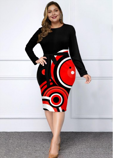 Long Sleeve Plus Size Geometric Print Dress - 3X