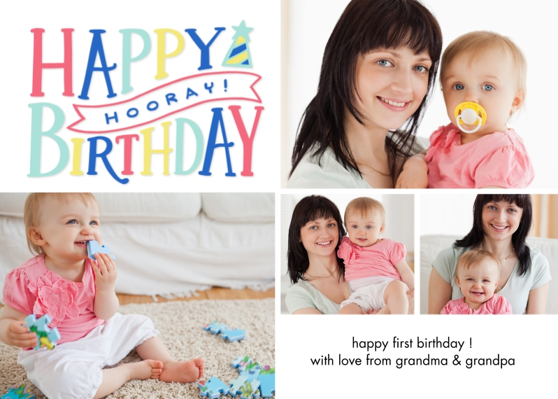 Birthday Greeting Cards 5x7 Folded Cards, Standard Cardstock 85lb, Card & Stationery -Birthday Horray Memories
