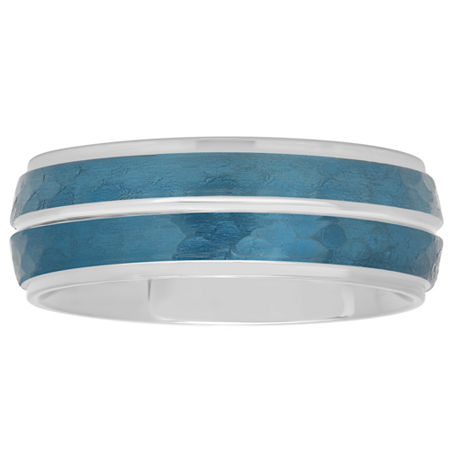 Mens Blue IP Hammered Striped Stainless Steel Wedding Band, 10 1/2 , No Color Family