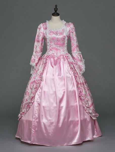 Milanoo Victorian Dress Costume Women's Rococo Ball Gowns Pink Ruffle Long Sleeves Royal Victoria era Clothing Princess Retro Costumes Dress Halloween