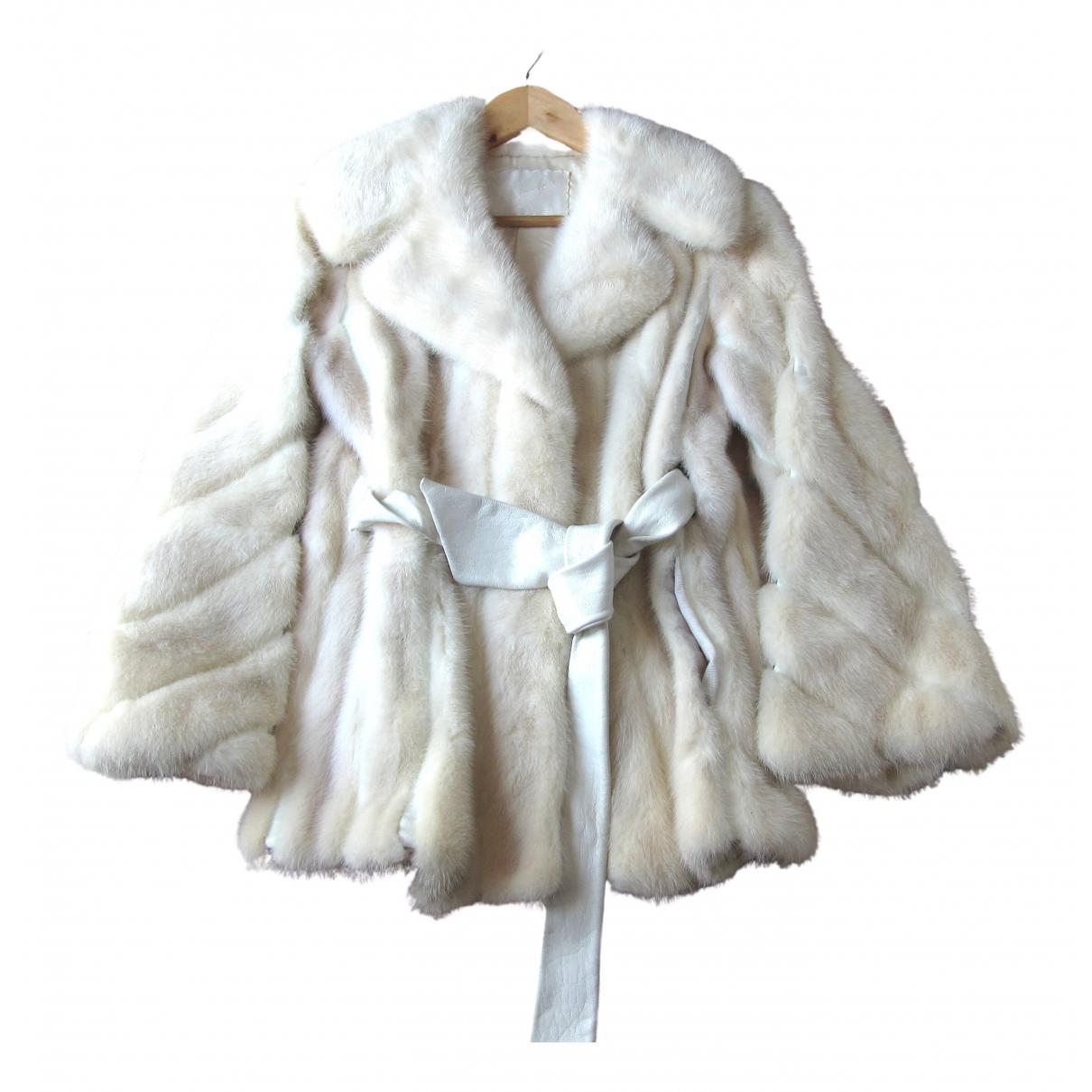 Schumacher - Manteau   pour femme en cuir exotique - ecru