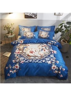 Floral and Geometric Pattern Polyester 4-Piece Bedding Sets/Duvet Cover